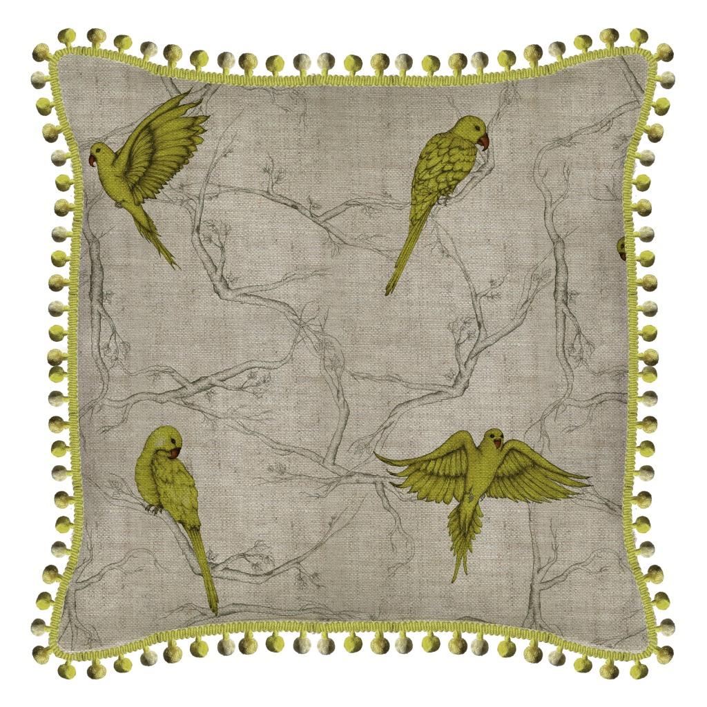 Tradescant & Son Parakeet Oatmeal Linen Pom-Pom Cushion