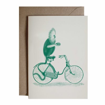 monkey and bicycle card