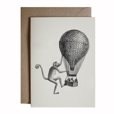 monkey with balloon card